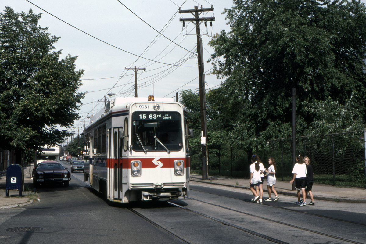 (581k, 1200x800)<br><b>Country:</b> United States<br><b>City:</b> Philadelphia, PA<br><b>System:</b> SEPTA (or Predecessor)<br><b>Line:</b> Rt. 15-Girard<br><b>Location:</b> Richmond/Ann<br><b>Car:</b> SEPTA K Single-ended (Kawasaki, 1981) 9081 <br><b>Collection of:</b> David Pirmann<br><b>Date:</b> 12/1992<br><b>Viewed (this week/total):</b> 0 / 90
