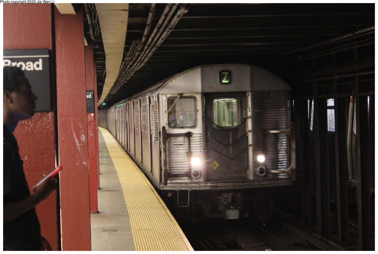 (333k, 1220x820)<br><b>Country:</b> United States<br><b>City:</b> New York<br><b>System:</b> New York City Transit<br><b>Line:</b> BMT Nassau Street-Jamaica Line<br><b>Location:</b> Broad Street<br><b>Route:</b> Z<br><b>Car:</b> R-32 (Budd, 1964) 3810 <br><b>Photo by:</b> Jie Wen Li<br><b>Date:</b> 7/2/2020<br><b>Viewed (this week/total):</b> 2 / 354