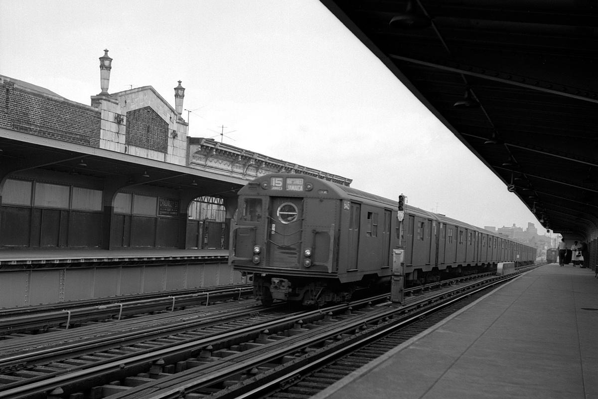 (315k, 1200x800)<br><b>Country:</b> United States<br><b>City:</b> New York<br><b>System:</b> New York City Transit<br><b>Line:</b> BMT Nassau Street-Jamaica Line<br><b>Location:</b> Chauncey Street<br><b>Route:</b> BMT15<br><b>Car:</b> R-16 (American Car & Foundry, 1955) 6445 <br><b>Collection of:</b> David Pirmann<br><b>Date:</b> 8/13/1962<br><b>Viewed (this week/total):</b> 3 / 537