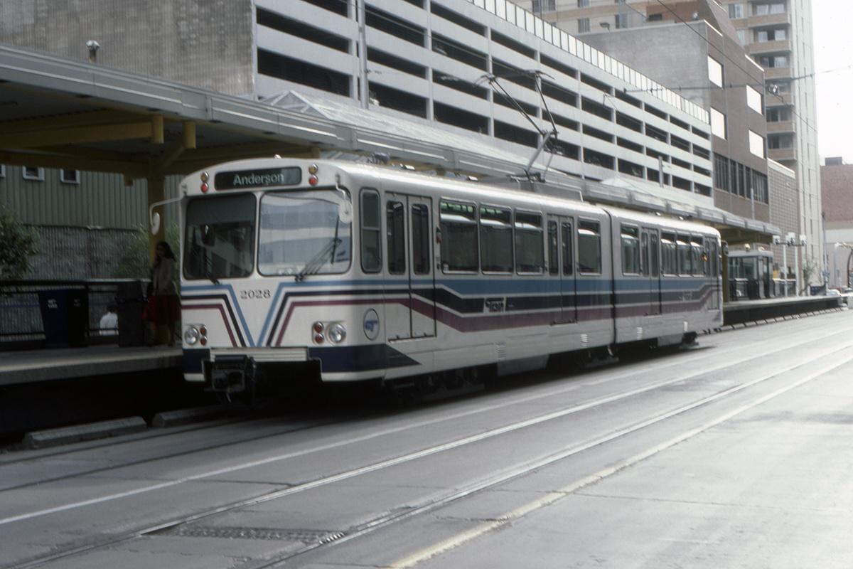 (362k, 1200x800)<br><b>Country:</b> Canada<br><b>City:</b> Calgary<br><b>System:</b> Calgary Transit<br><b>Car:</b> Siemens U2-DC 2028 <br><b>Collection of:</b> David Pirmann<br><b>Date:</b> 6/1983<br><b>Viewed (this week/total):</b> 1 / 97