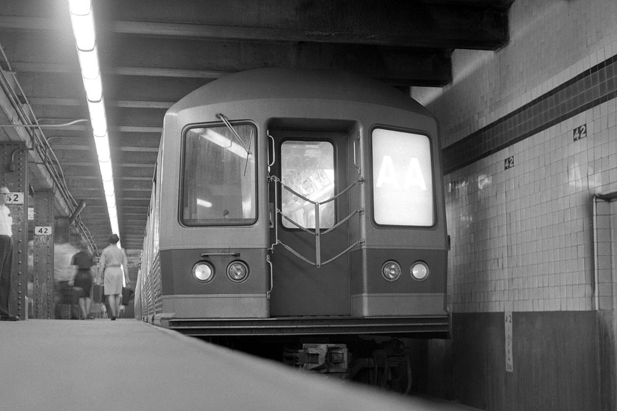 (318k, 1200x800)<br><b>Country:</b> United States<br><b>City:</b> New York<br><b>System:</b> New York City Transit<br><b>Line:</b> IND 8th Avenue Line<br><b>Location:</b> 42nd Street/Port Authority Bus Terminal<br><b>Route:</b> AA<br><b>Car:</b> R-42 (St. Louis, 1969-1970)  <br><b>Collection of:</b> David Pirmann<br><b>Date:</b> 8/23/1969<br><b>Viewed (this week/total):</b> 5 / 422
