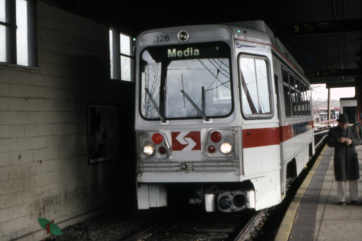 (340k, 1200x800)<br><b>Country:</b> United States<br><b>City:</b> Philadelphia, PA<br><b>System:</b> SEPTA (or Predecessor)<br><b>Line:</b> Rt. 101-Media/102-Sharon Hill<br><b>Location:</b> 69th Street<br><b>Car:</b> SEPTA K Double-ended (Kawasaki, 1981) 126 <br><b>Collection of:</b> David Pirmann<br><b>Date:</b> 1/13/1992<br><b>Viewed (this week/total):</b> 0 / 102