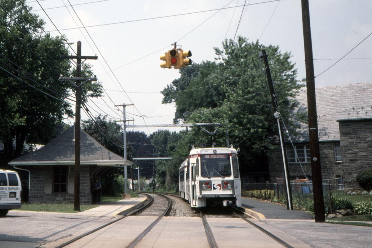 (489k, 1200x800)<br><b>Country:</b> United States<br><b>City:</b> Philadelphia, PA<br><b>System:</b> SEPTA (or Predecessor)<br><b>Line:</b> Rt. 101-Media<br><b>Location:</b> School Lane<br><b>Car:</b> SEPTA K Double-ended (Kawasaki, 1981) 103 <br><b>Collection of:</b> David Pirmann<br><b>Date:</b> 7/3/1999<br><b>Viewed (this week/total):</b> 1 / 101