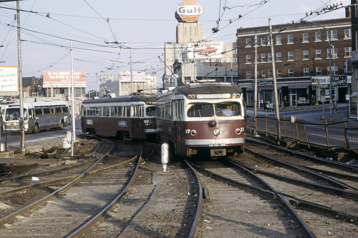(589k, 1200x800)<br><b>Country:</b> United States<br><b>City:</b> Philadelphia, PA<br><b>System:</b> SEPTA (or Predecessor)<br><b>Line:</b> Rt. 101-Media/102-Sharon Hill<br><b>Location:</b> 69th Street<br><b>Car:</b> PSTC Streamliner (St. Louis Car Co., 1949) 17 <br><b>Collection of:</b> David Pirmann<br><b>Date:</b> 9/27/1973<br><b>Viewed (this week/total):</b> 1 / 90