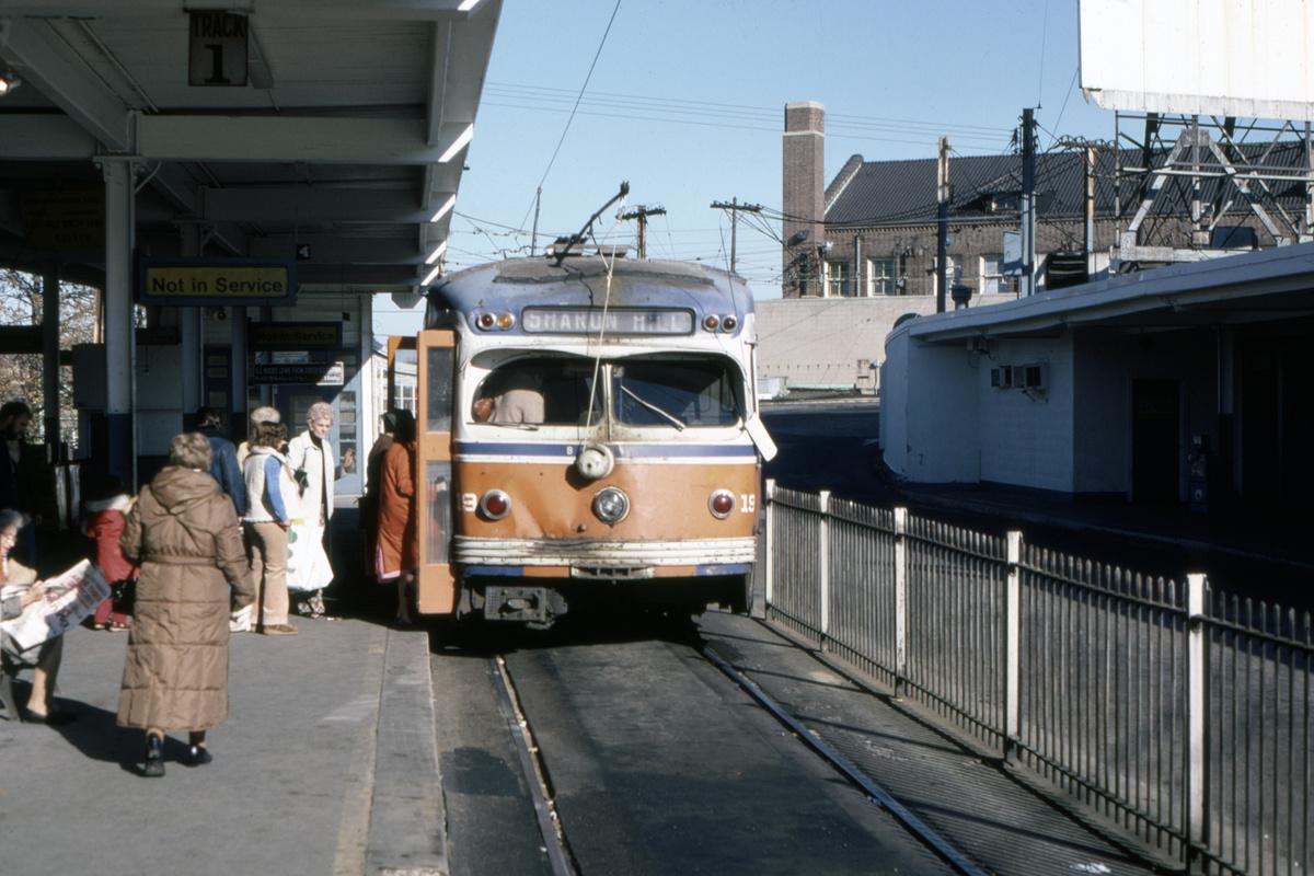 (415k, 1200x800)<br><b>Country:</b> United States<br><b>City:</b> Philadelphia, PA<br><b>System:</b> SEPTA (or Predecessor)<br><b>Line:</b> Rt. 101-Media/102-Sharon Hill<br><b>Location:</b> 69th Street<br><b>Car:</b> PSTC Streamliner (St. Louis Car Co., 1949) 19 <br><b>Collection of:</b> David Pirmann<br><b>Date:</b> 11/1980<br><b>Viewed (this week/total):</b> 1 / 110