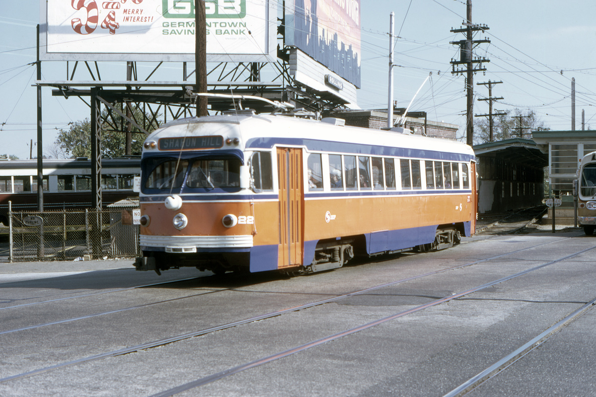 (503k, 1200x800)<br><b>Country:</b> United States<br><b>City:</b> Philadelphia, PA<br><b>System:</b> SEPTA (or Predecessor)<br><b>Line:</b> Rt. 101-Media/102-Sharon Hill<br><b>Location:</b> 69th Street<br><b>Car:</b> PSTC Streamliner (St. Louis Car Co., 1949) 22 <br><b>Collection of:</b> David Pirmann<br><b>Date:</b> 10/21/1973<br><b>Viewed (this week/total):</b> 1 / 84