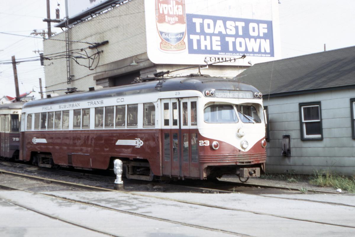 (369k, 1200x800)<br><b>Country:</b> United States<br><b>City:</b> Philadelphia, PA<br><b>System:</b> SEPTA (or Predecessor)<br><b>Line:</b> Rt. 101-Media/102-Sharon Hill<br><b>Location:</b> 69th Street<br><b>Car:</b> PSTC Streamliner (St. Louis Car Co., 1949) 23 <br><b>Collection of:</b> David Pirmann<br><b>Date:</b> 9/1967<br><b>Viewed (this week/total):</b> 3 / 90