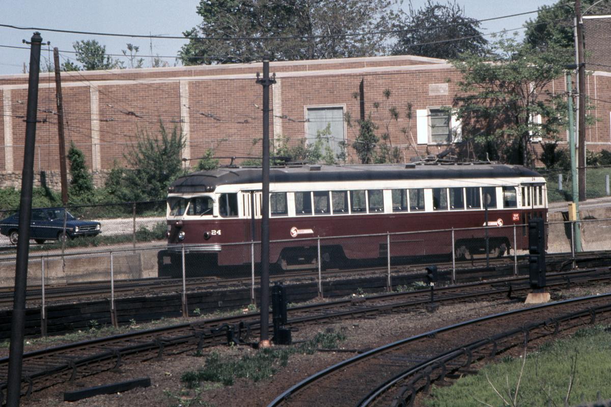 (580k, 1200x800)<br><b>Country:</b> United States<br><b>City:</b> Philadelphia, PA<br><b>System:</b> SEPTA (or Predecessor)<br><b>Line:</b> Rt. 101-Media/102-Sharon Hill<br><b>Location:</b> 69th Street<br><b>Car:</b> PSTC Streamliner (St. Louis Car Co., 1949) 24 <br><b>Collection of:</b> David Pirmann<br><b>Date:</b> 5/4/1974<br><b>Viewed (this week/total):</b> 0 / 87