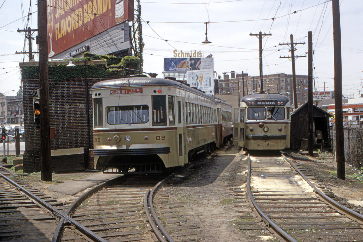 (595k, 1200x800)<br><b>Country:</b> United States<br><b>City:</b> Philadelphia, PA<br><b>System:</b> SEPTA (or Predecessor)<br><b>Line:</b> Rt. 101-Media/102-Sharon Hill<br><b>Location:</b> 69th Street<br><b>Car:</b> PSTC Master Unit Suburban (J.G. Brill, 1932) 82 <br><b>Collection of:</b> David Pirmann<br><b>Date:</b> 6/1971<br><b>Viewed (this week/total):</b> 0 / 119