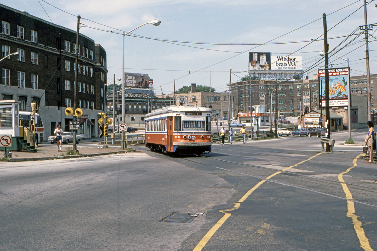 (526k, 1200x800)<br><b>Country:</b> United States<br><b>City:</b> Philadelphia, PA<br><b>System:</b> SEPTA (or Predecessor)<br><b>Line:</b> Rt. 101-Media/102-Sharon Hill<br><b>Location:</b> 69th Street<br><b>Car:</b> PSTC Master Unit Suburban (J.G. Brill, 1932) 84 <br><b>Collection of:</b> David Pirmann<br><b>Date:</b> 10/1982<br><b>Viewed (this week/total):</b> 2 / 93