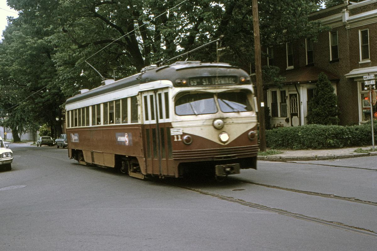 (550k, 1200x800)<br><b>Country:</b> United States<br><b>City:</b> Philadelphia, PA<br><b>System:</b> SEPTA (or Predecessor)<br><b>Line:</b> Rt. 101-Media<br><b>Location:</b> Manchester Avenue/State Street<br><b>Car:</b> PSTC Streamliner (St. Louis Car Co., 1949) 11 <br><b>Collection of:</b> David Pirmann<br><b>Date:</b> 6/1976<br><b>Viewed (this week/total):</b> 1 / 96