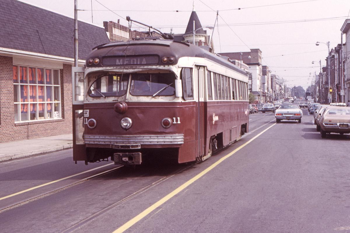 (466k, 1200x800)<br><b>Country:</b> United States<br><b>City:</b> Philadelphia, PA<br><b>System:</b> SEPTA (or Predecessor)<br><b>Line:</b> Rt. 101-Media<br><b>Location:</b> Orange Street/State Street<br><b>Car:</b> PSTC Streamliner (St. Louis Car Co., 1949) 11 <br><b>Collection of:</b> David Pirmann<br><b>Date:</b> 9/28/1973<br><b>Viewed (this week/total):</b> 1 / 83