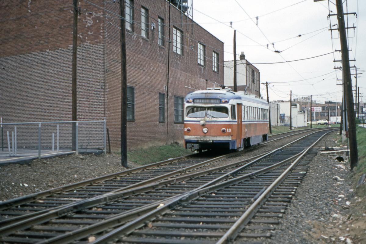 (505k, 1200x800)<br><b>Country:</b> United States<br><b>City:</b> Philadelphia, PA<br><b>System:</b> SEPTA (or Predecessor)<br><b>Line:</b> Rt. 101-Media/102-Sharon Hill<br><b>Location:</b> Fairfield Avenue<br><b>Car:</b> PSTC Streamliner (St. Louis Car Co., 1949) 15 <br><b>Collection of:</b> David Pirmann<br><b>Date:</b> 10/31/1981<br><b>Viewed (this week/total):</b> 1 / 102