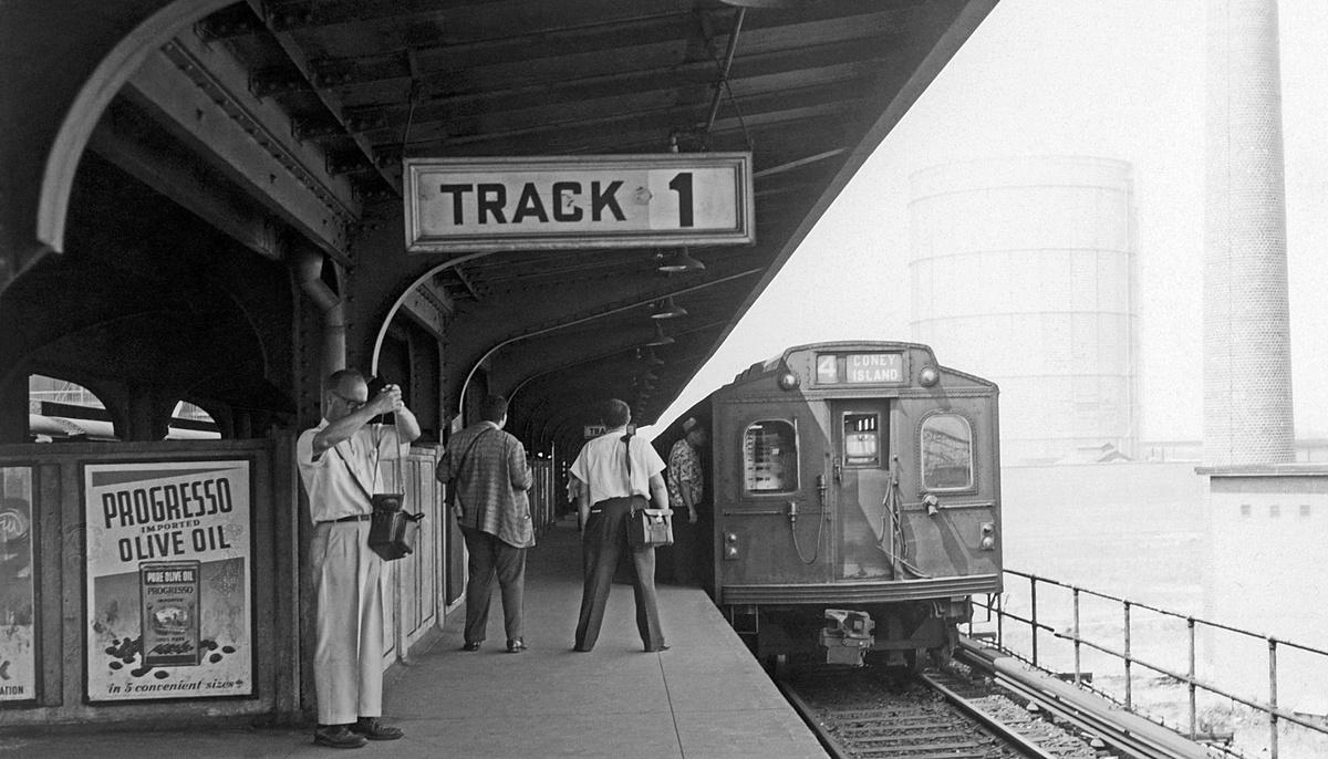 (316k, 1200x686)<br><b>Country:</b> United States<br><b>City:</b> New York<br><b>System:</b> New York City Transit<br><b>Location:</b> Coney Island/Stillwell Avenue<br><b>Route:</b> Fan Trip<br><b>Car:</b> BMT Multisection 7017 <br><b>Collection of:</b> David Pirmann<br><b>Date:</b> 7/22/1961<br><b>Viewed (this week/total):</b> 0 / 328