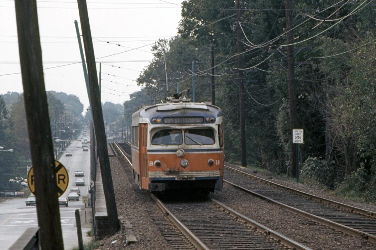 (498k, 1200x800)<br><b>Country:</b> United States<br><b>City:</b> Philadelphia, PA<br><b>System:</b> SEPTA (or Predecessor)<br><b>Line:</b> Rt. 101-Media/102-Sharon Hill<br><b>Location:</b> Beverly Blvd./Beverly Hills<br><b>Car:</b> PSTC Streamliner (St. Louis Car Co., 1949) 19 <br><b>Collection of:</b> David Pirmann<br><b>Date:</b> 10/7/1976<br><b>Viewed (this week/total):</b> 1 / 115