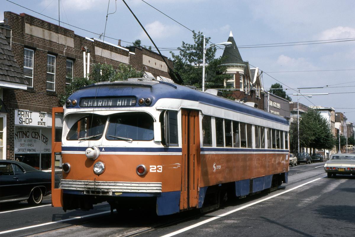 (500k, 1200x800)<br><b>Country:</b> United States<br><b>City:</b> Philadelphia, PA<br><b>System:</b> SEPTA (or Predecessor)<br><b>Line:</b> Rt. 101-Media<br><b>Location:</b> Orange Street/State Street<br><b>Car:</b> PSTC Streamliner (St. Louis Car Co., 1949) 23 <br><b>Collection of:</b> David Pirmann<br><b>Date:</b> 10/1982<br><b>Viewed (this week/total):</b> 0 / 98