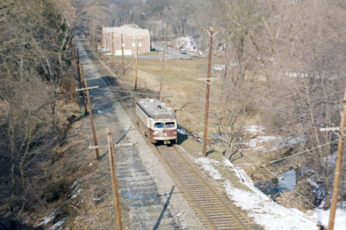 (437k, 1200x800)<br><b>Country:</b> United States<br><b>City:</b> Philadelphia, PA<br><b>System:</b> SEPTA (or Predecessor)<br><b>Line:</b> Rt. 101-Media<br><b>Location:</b> Springfield Mall<br><b>Car:</b> PSTC Streamliner (St. Louis Car Co., 1949) 24 <br><b>Photo by:</b> Ralph Curcio<br><b>Collection of:</b> David Pirmann<br><b>Date:</b> 1974<br><b>Viewed (this week/total):</b> 1 / 117