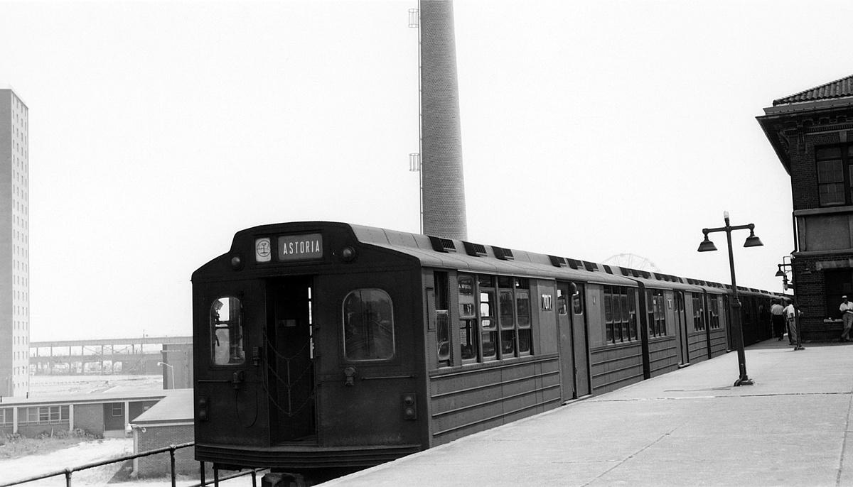 (236k, 1200x686)<br><b>Country:</b> United States<br><b>City:</b> New York<br><b>System:</b> New York City Transit<br><b>Location:</b> Coney Island/Stillwell Avenue<br><b>Route:</b> Fan Trip<br><b>Car:</b> BMT Multisection 7017 <br><b>Collection of:</b> David Pirmann<br><b>Date:</b> 7/22/1961<br><b>Viewed (this week/total):</b> 0 / 268