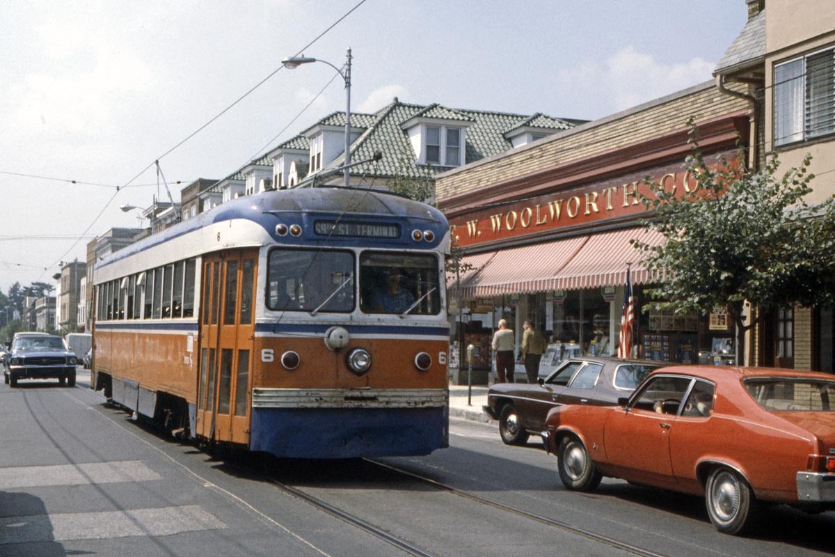 (526k, 1200x800)<br><b>Country:</b> United States<br><b>City:</b> Philadelphia, PA<br><b>System:</b> SEPTA (or Predecessor)<br><b>Line:</b> Rt. 101-Media<br><b>Location:</b> Orange Street/State Street<br><b>Car:</b> PSTC Brilliner (J.G. Brill, 1941) 6 <br><b>Collection of:</b> David Pirmann<br><b>Date:</b> 1979<br><b>Viewed (this week/total):</b> 0 / 96