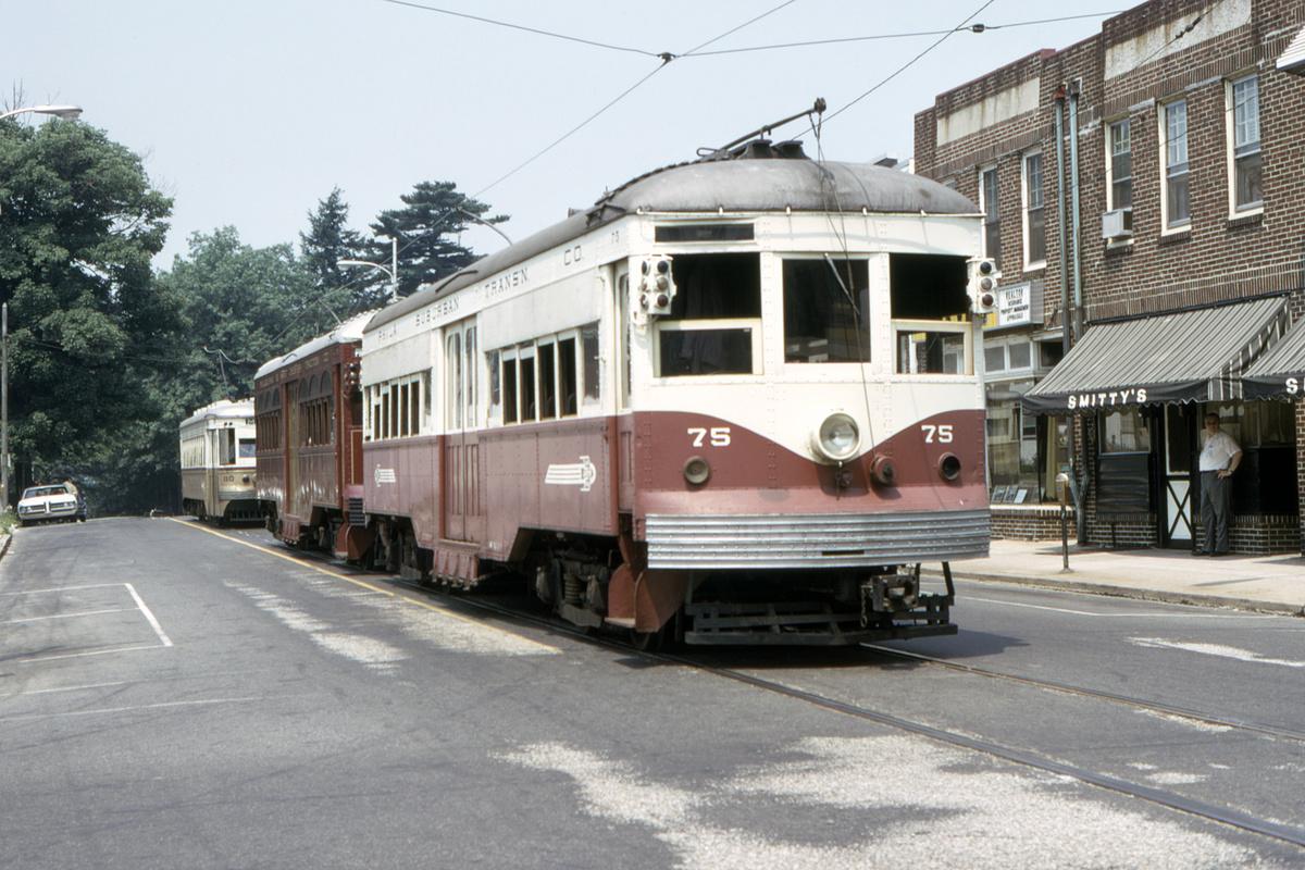 (497k, 1200x800)<br><b>Country:</b> United States<br><b>City:</b> Philadelphia, PA<br><b>System:</b> SEPTA (or Predecessor)<br><b>Line:</b> Rt. 101-Media<br><b>Location:</b> Orange Street/State Street<br><b>Car:</b> PSTC Center Entrance Interurban (J.G. Brill, 1926) 75 <br><b>Collection of:</b> David Pirmann<br><b>Date:</b> 7/1973<br><b>Viewed (this week/total):</b> 1 / 80
