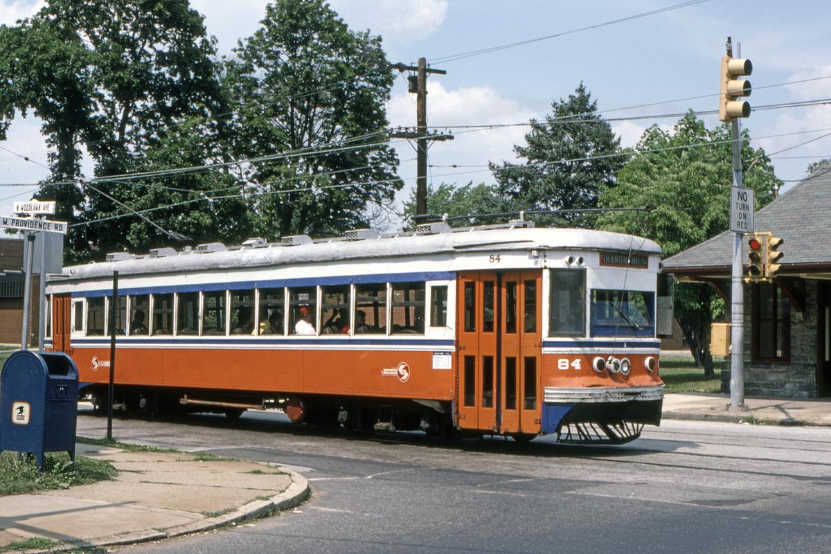 (607k, 1200x800)<br><b>Country:</b> United States<br><b>City:</b> Philadelphia, PA<br><b>System:</b> SEPTA (or Predecessor)<br><b>Line:</b> Rt. 102-Sharon Hill<br><b>Location:</b> Providence Road/Woodlawn Avenue<br><b>Car:</b> PSTC Master Unit Suburban (J.G. Brill, 1932) 84 <br><b>Collection of:</b> David Pirmann<br><b>Date:</b> 10/1982<br><b>Viewed (this week/total):</b> 1 / 82