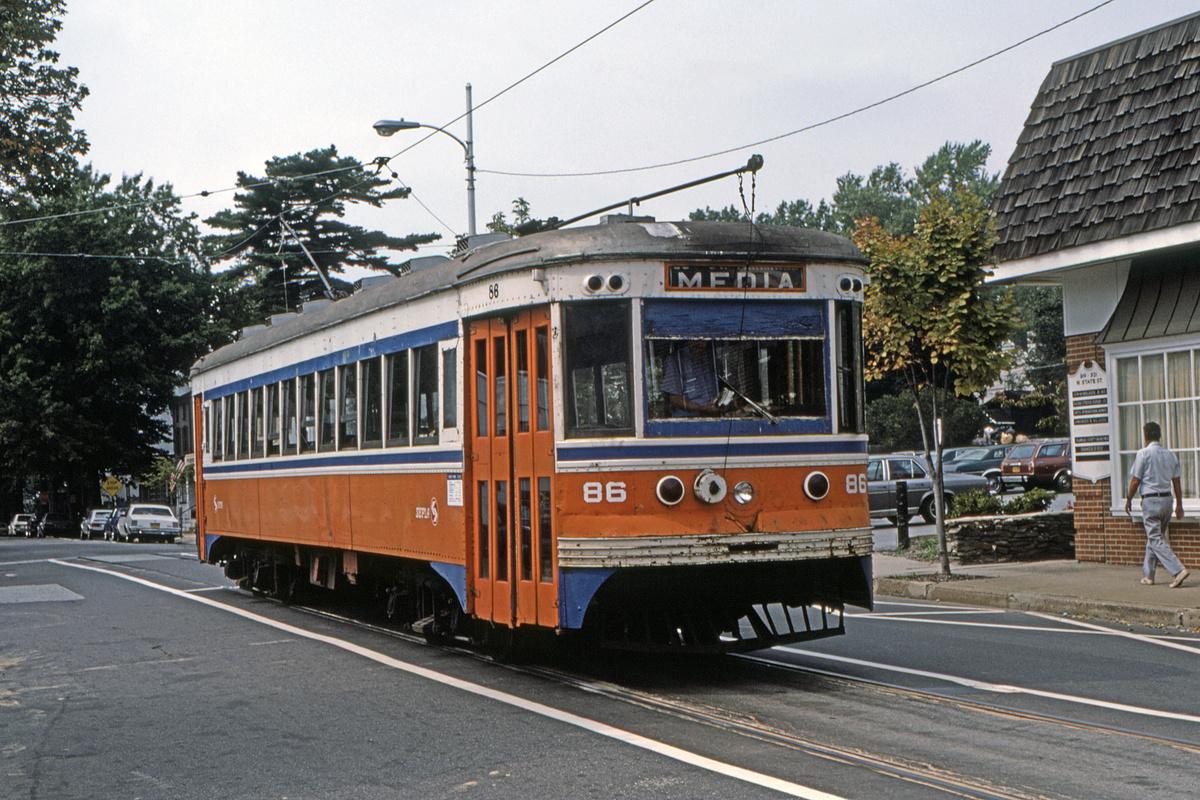 (575k, 1200x800)<br><b>Country:</b> United States<br><b>City:</b> Philadelphia, PA<br><b>System:</b> SEPTA (or Predecessor)<br><b>Line:</b> Rt. 101-Media<br><b>Location:</b> Orange Street/State Street<br><b>Car:</b> PSTC Master Unit Suburban (J.G. Brill, 1932) 86 <br><b>Collection of:</b> David Pirmann<br><b>Date:</b> 10/1982<br><b>Viewed (this week/total):</b> 1 / 83