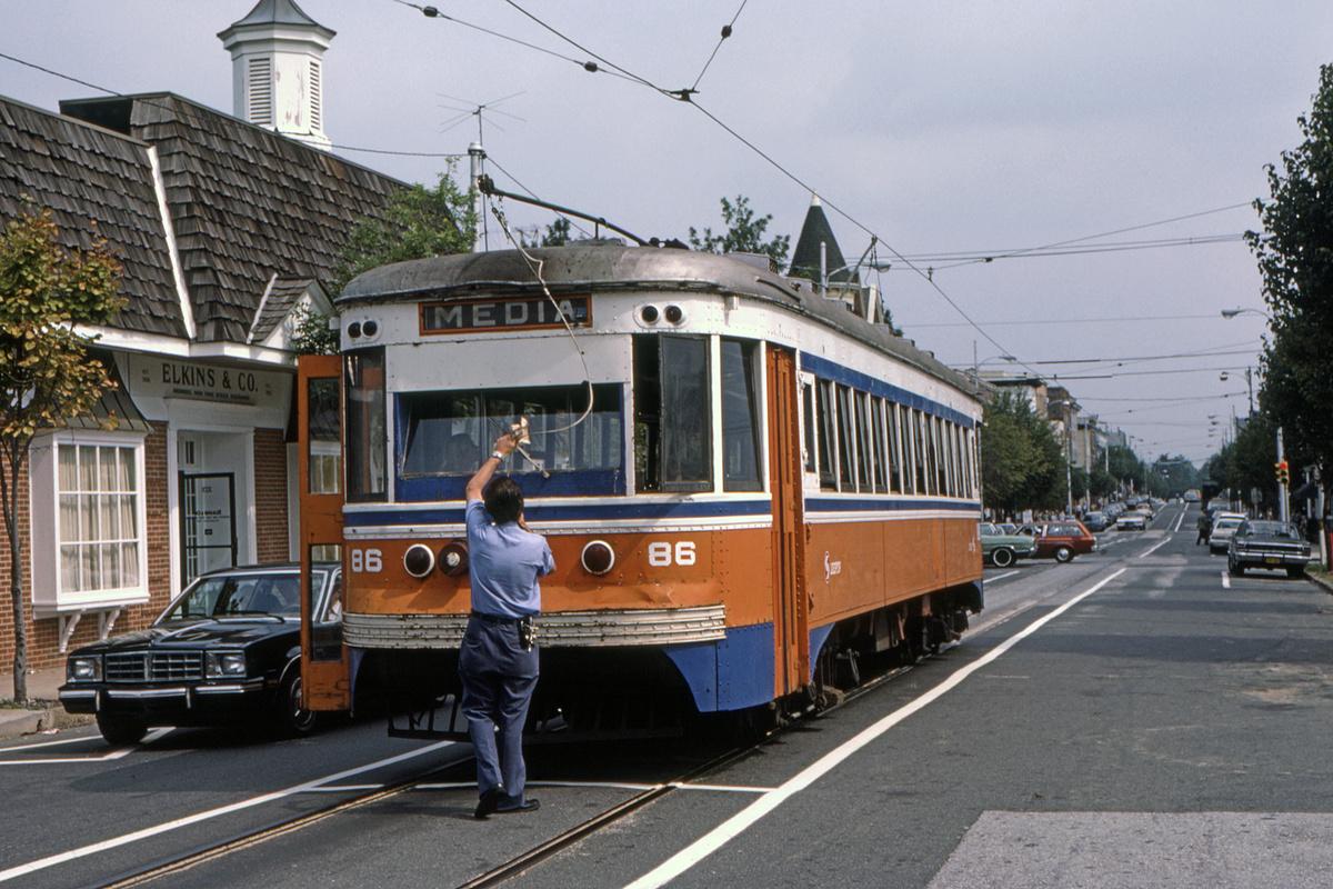 (511k, 1200x800)<br><b>Country:</b> United States<br><b>City:</b> Philadelphia, PA<br><b>System:</b> SEPTA (or Predecessor)<br><b>Line:</b> Rt. 101-Media<br><b>Location:</b> Orange Street/State Street<br><b>Car:</b> PSTC Master Unit Suburban (J.G. Brill, 1932) 86 <br><b>Collection of:</b> David Pirmann<br><b>Date:</b> 10/1982<br><b>Viewed (this week/total):</b> 2 / 91