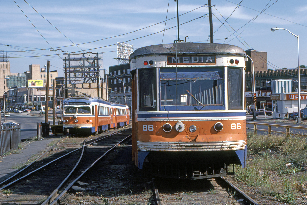 (575k, 1200x800)<br><b>Country:</b> United States<br><b>City:</b> Philadelphia, PA<br><b>System:</b> SEPTA (or Predecessor)<br><b>Line:</b> Rt. 101-Media/102-Sharon Hill<br><b>Location:</b> 69th Street<br><b>Car:</b> PSTC Master Unit Suburban (J.G. Brill, 1932) 86 <br><b>Collection of:</b> David Pirmann<br><b>Date:</b> 10/1982<br><b>Viewed (this week/total):</b> 2 / 91