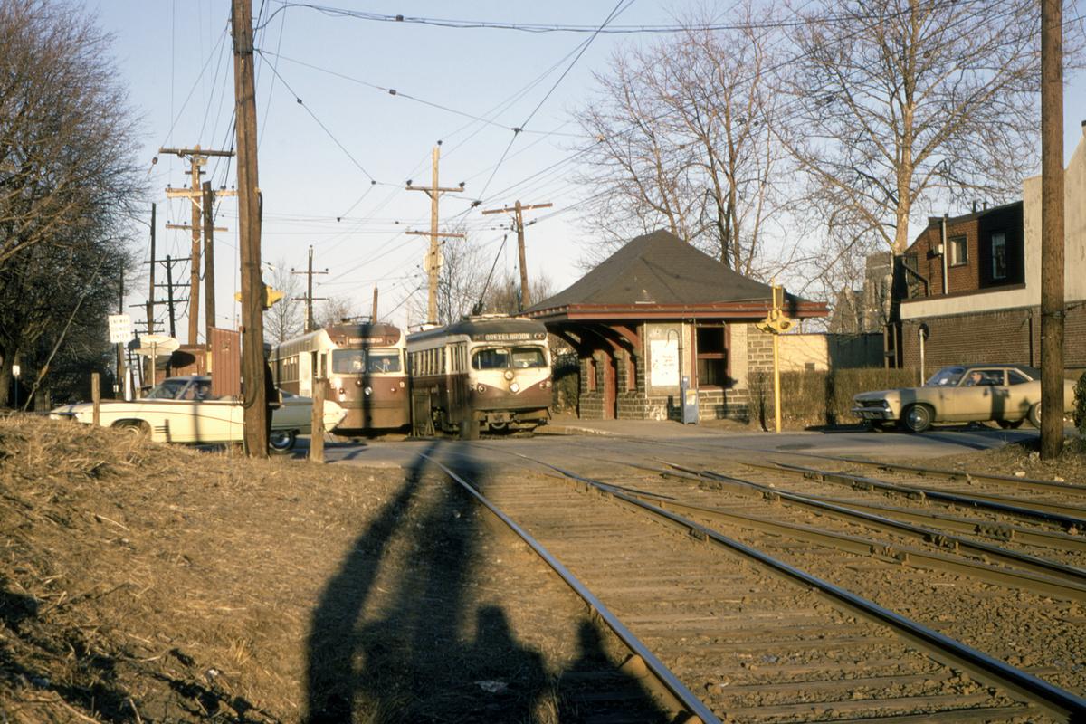 (632k, 1200x800)<br><b>Country:</b> United States<br><b>City:</b> Philadelphia, PA<br><b>System:</b> SEPTA (or Predecessor)<br><b>Line:</b> Rt. 101-Media/102-Sharon Hill<br><b>Location:</b> Drexel Hill Junction<br><b>Car:</b> PSTC Brilliner (J.G. Brill, 1941) 9-24 <br><b>Collection of:</b> David Pirmann<br><b>Date:</b> 2/23/1970<br><b>Viewed (this week/total):</b> 1 / 90