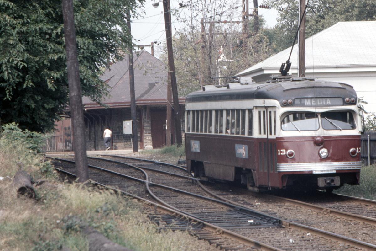 (486k, 1200x800)<br><b>Country:</b> United States<br><b>City:</b> Philadelphia, PA<br><b>System:</b> SEPTA (or Predecessor)<br><b>Line:</b> Rt. 101-Media/102-Sharon Hill<br><b>Location:</b> N. of Drexel Hill Jct.<br><b>Car:</b> PSTC Streamliner (St. Louis Car Co., 1949) 13 <br><b>Collection of:</b> David Pirmann<br><b>Date:</b> 10/10/1973<br><b>Viewed (this week/total):</b> 1 / 104