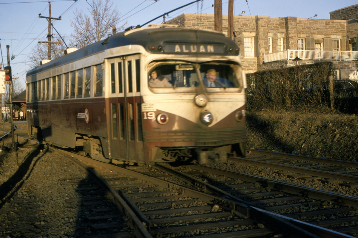 (478k, 1200x800)<br><b>Country:</b> United States<br><b>City:</b> Philadelphia, PA<br><b>System:</b> SEPTA (or Predecessor)<br><b>Line:</b> Rt. 101-Media/102-Sharon Hill<br><b>Location:</b> Drexel Hill Junction<br><b>Car:</b> PSTC Streamliner (St. Louis Car Co., 1949) 19 <br><b>Collection of:</b> David Pirmann<br><b>Date:</b> 2/23/1970<br><b>Viewed (this week/total):</b> 1 / 94