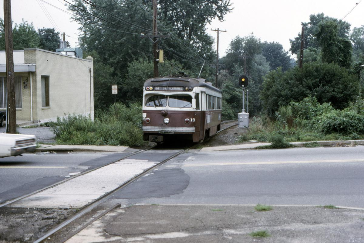 (515k, 1200x800)<br><b>Country:</b> United States<br><b>City:</b> Philadelphia, PA<br><b>System:</b> SEPTA (or Predecessor)<br><b>Line:</b> Rt. 101-Media<br><b>Location:</b> Woodland Avenue<br><b>Car:</b> PSTC Streamliner (St. Louis Car Co., 1949) 19 <br><b>Collection of:</b> David Pirmann<br><b>Date:</b> 8/1967<br><b>Viewed (this week/total):</b> 2 / 85