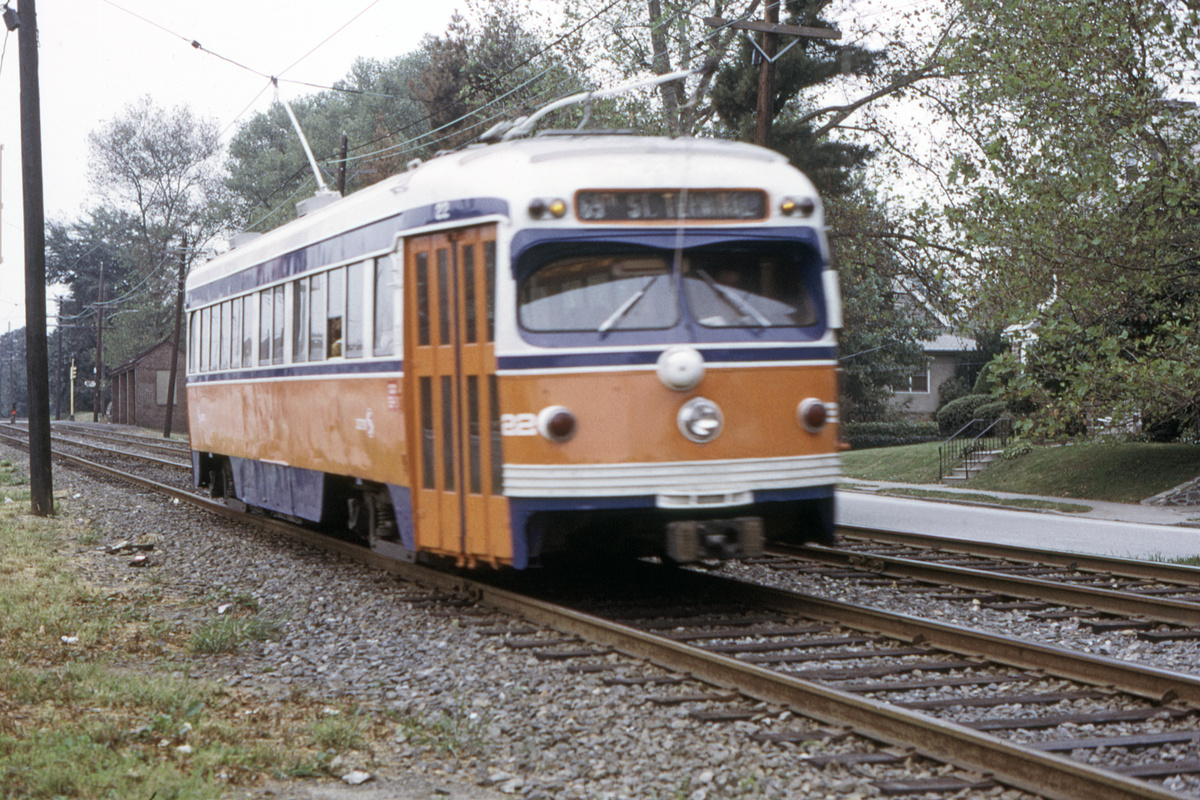 (608k, 1200x800)<br><b>Country:</b> United States<br><b>City:</b> Philadelphia, PA<br><b>System:</b> SEPTA (or Predecessor)<br><b>Line:</b> Rt. 102-Sharon Hill<br><b>Car:</b> PSTC Streamliner (St. Louis Car Co., 1949) 22 <br><b>Collection of:</b> David Pirmann<br><b>Date:</b> 9/27/1973<br><b>Viewed (this week/total):</b> 1 / 93