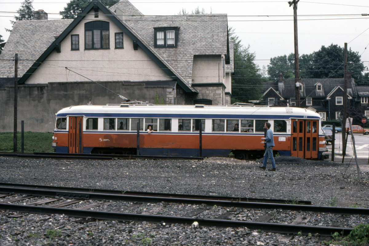 (536k, 1200x800)<br><b>Country:</b> United States<br><b>City:</b> Philadelphia, PA<br><b>System:</b> SEPTA (or Predecessor)<br><b>Line:</b> Rt. 101-Media/102-Sharon Hill<br><b>Location:</b> Drexel Hill Junction<br><b>Car:</b> PSTC Streamliner (St. Louis Car Co., 1949) 22 <br><b>Collection of:</b> David Pirmann<br><b>Date:</b> 8/1981<br><b>Viewed (this week/total):</b> 1 / 106