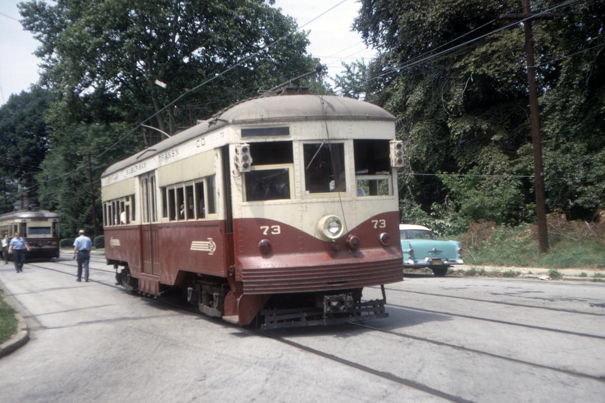 (482k, 1200x800)<br><b>Country:</b> United States<br><b>City:</b> Philadelphia, PA<br><b>System:</b> SEPTA (or Predecessor)<br><b>Line:</b> Rt. 102-Sharon Hill<br><b>Location:</b> Woodlawn Avenue<br><b>Car:</b> PSTC Center Entrance Interurban (J.G. Brill, 1926) 73 <br><b>Collection of:</b> David Pirmann<br><b>Date:</b> 7/1967<br><b>Viewed (this week/total):</b> 1 / 87