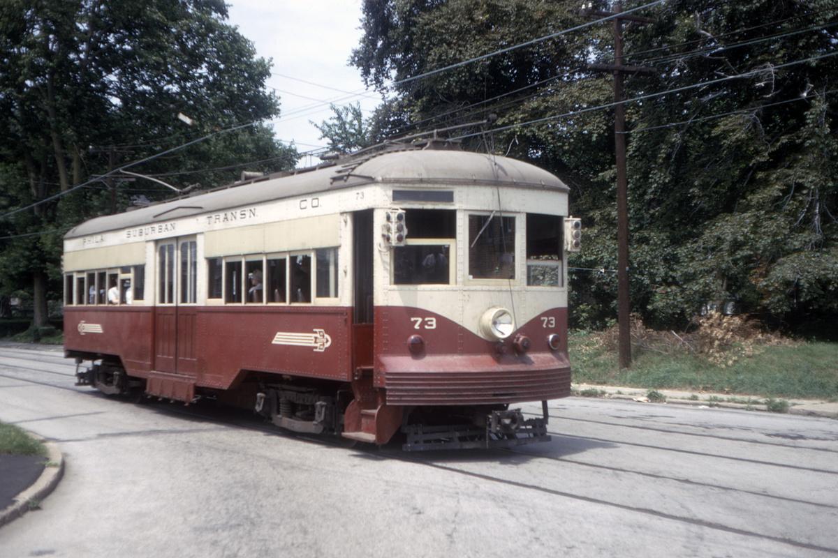 (480k, 1200x800)<br><b>Country:</b> United States<br><b>City:</b> Philadelphia, PA<br><b>System:</b> SEPTA (or Predecessor)<br><b>Line:</b> Rt. 102-Sharon Hill<br><b>Location:</b> Woodlawn Avenue<br><b>Car:</b> PSTC Center Entrance Interurban (J.G. Brill, 1926) 73 <br><b>Collection of:</b> David Pirmann<br><b>Date:</b> 7/1967<br><b>Viewed (this week/total):</b> 1 / 84