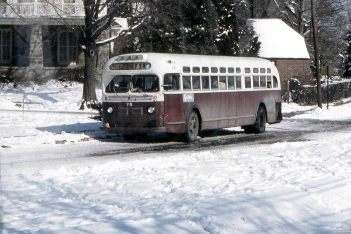 (421k, 1200x800)<br><b>Country:</b> United States<br><b>City:</b> Philadelphia, PA<br><b>System:</b> SEPTA (or Predecessor)<br><b>Line:</b> Rt. 101-Media/102-Sharon Hill<br><b>Location:</b> Drexel Hill Junction<br><b>Car:</b>  75 <br><b>Collection of:</b> David Pirmann<br><b>Date:</b> 2/9/1974<br><b>Viewed (this week/total):</b> 1 / 131