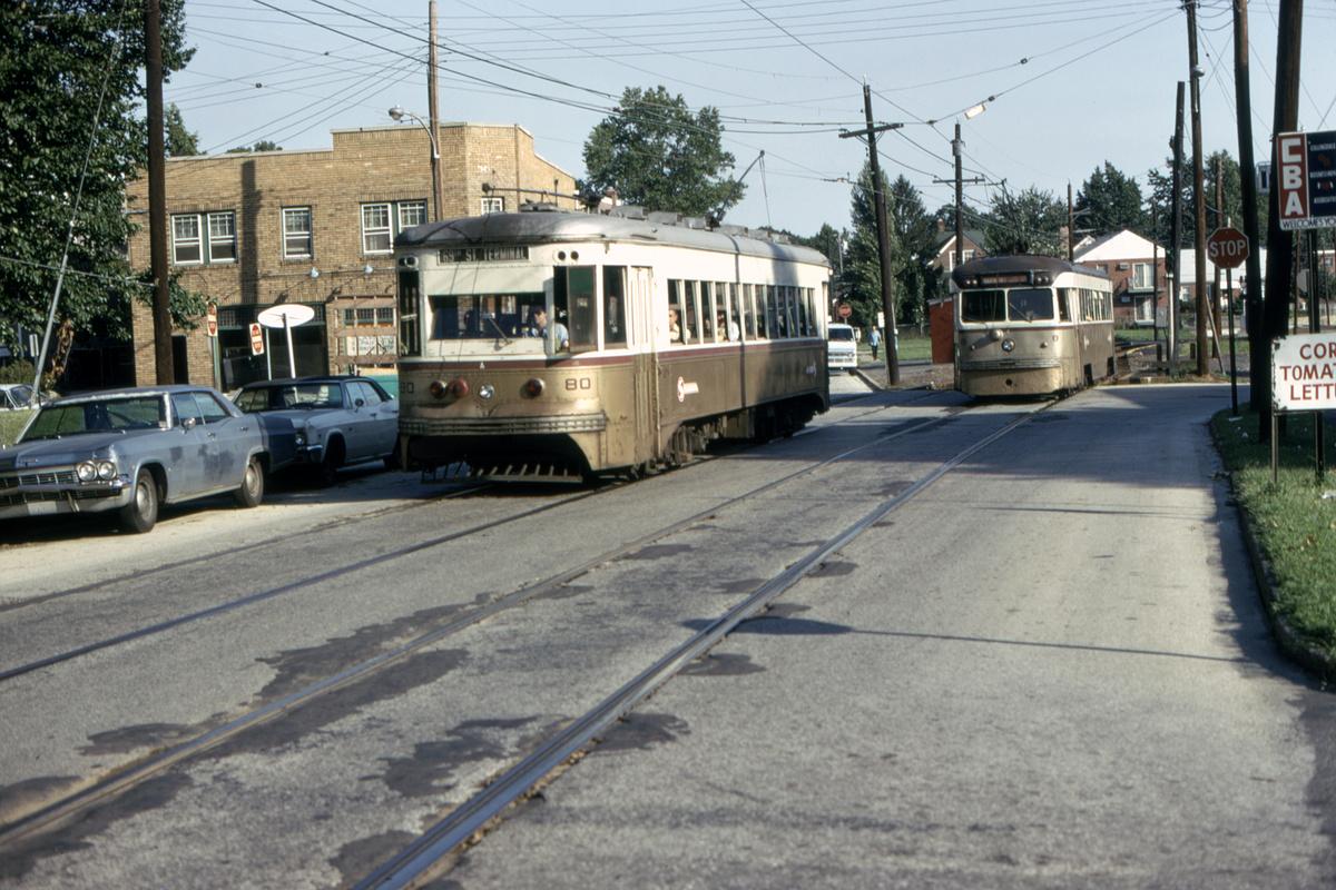 (496k, 1200x800)<br><b>Country:</b> United States<br><b>City:</b> Philadelphia, PA<br><b>System:</b> SEPTA (or Predecessor)<br><b>Line:</b> Rt. 102-Sharon Hill<br><b>Location:</b> Woodlawn Avenue<br><b>Car:</b> PSTC Master Unit Suburban (J.G. Brill, 1932) 80-8 <br><b>Collection of:</b> David Pirmann<br><b>Date:</b> 8/10/1975<br><b>Viewed (this week/total):</b> 1 / 90