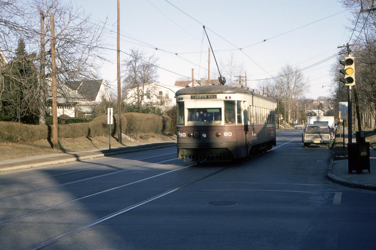(474k, 1200x800)<br><b>Country:</b> United States<br><b>City:</b> Philadelphia, PA<br><b>System:</b> SEPTA (or Predecessor)<br><b>Line:</b> Rt. 102-Sharon Hill<br><b>Location:</b> Woodlawn Avenue<br><b>Car:</b> PSTC Master Unit Suburban (J.G. Brill, 1932) 80 <br><b>Collection of:</b> David Pirmann<br><b>Date:</b> 2/1970<br><b>Viewed (this week/total):</b> 1 / 91