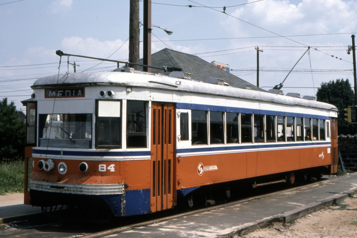 (401k, 1200x800)<br><b>Country:</b> United States<br><b>City:</b> Philadelphia, PA<br><b>System:</b> SEPTA (or Predecessor)<br><b>Line:</b> Rt. 102-Sharon Hill<br><b>Location:</b> Sharon Hill/Chester Pike<br><b>Car:</b> PSTC Master Unit Suburban (J.G. Brill, 1932) 84 <br><b>Collection of:</b> David Pirmann<br><b>Date:</b> 10/1982<br><b>Viewed (this week/total):</b> 3 / 106