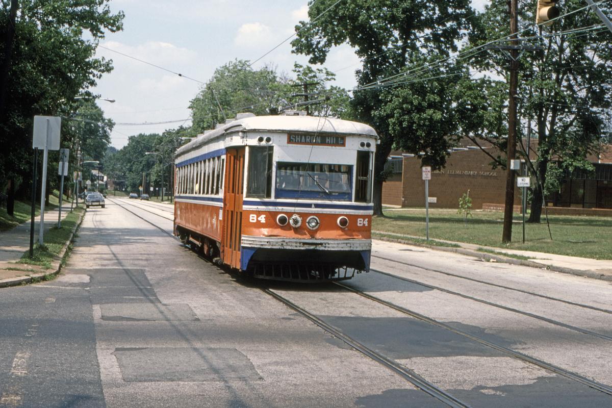 (605k, 1200x800)<br><b>Country:</b> United States<br><b>City:</b> Philadelphia, PA<br><b>System:</b> SEPTA (or Predecessor)<br><b>Line:</b> Rt. 102-Sharon Hill<br><b>Location:</b> Woodlawn Avenue<br><b>Car:</b> PSTC Master Unit Suburban (J.G. Brill, 1932) 84 <br><b>Collection of:</b> David Pirmann<br><b>Date:</b> 10/1982<br><b>Viewed (this week/total):</b> 2 / 96