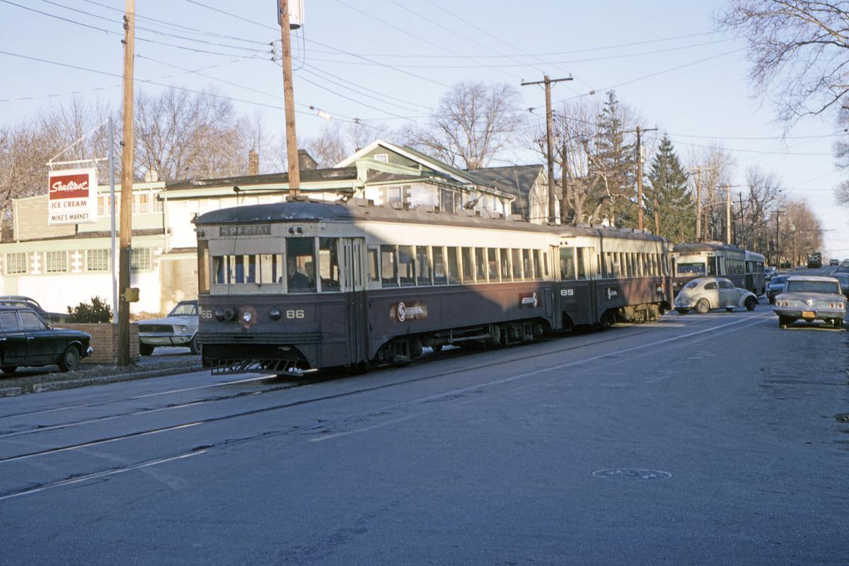 (469k, 1200x800)<br><b>Country:</b> United States<br><b>City:</b> Philadelphia, PA<br><b>System:</b> SEPTA (or Predecessor)<br><b>Line:</b> Rt. 102-Sharon Hill<br><b>Location:</b> North Street/Woodlawn Avenue<br><b>Car:</b> PSTC Master Unit Suburban (J.G. Brill, 1932) 86-85-80 <br><b>Collection of:</b> David Pirmann<br><b>Date:</b> 2/1970<br><b>Viewed (this week/total):</b> 1 / 101