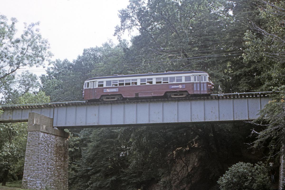 (603k, 1200x800)<br><b>Country:</b> United States<br><b>City:</b> Philadelphia, PA<br><b>System:</b> SEPTA (or Predecessor)<br><b>Line:</b> Rt. 101-Media<br><b>Location:</b> Near Paper Mill Road/Smedley Park<br><b>Car:</b> PSTC Streamliner (St. Louis Car Co., 1949)  <br><b>Collection of:</b> David Pirmann<br><b>Date:</b> 7/1972<br><b>Viewed (this week/total):</b> 1 / 94