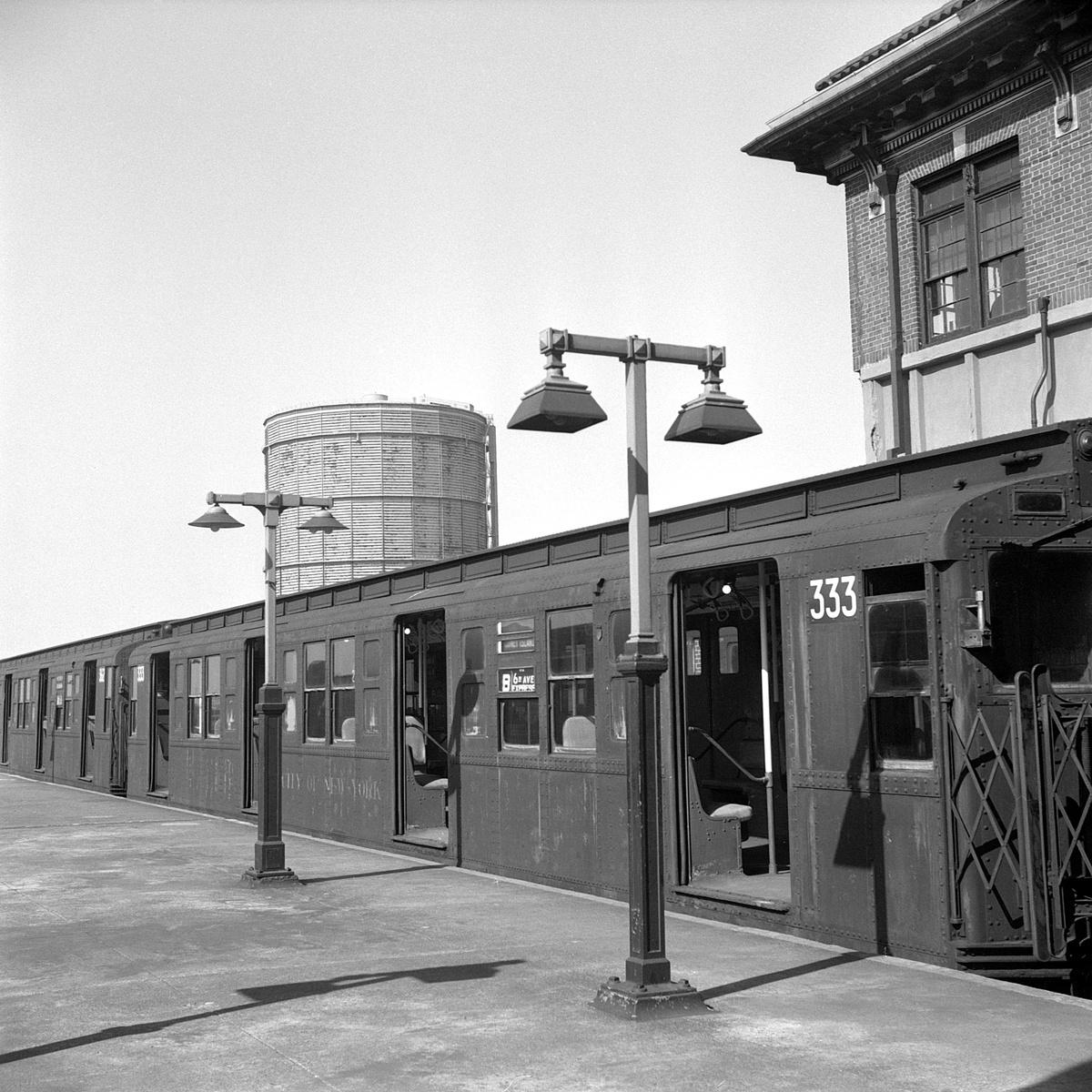 (572k, 1200x1200)<br><b>Country:</b> United States<br><b>City:</b> New York<br><b>System:</b> New York City Transit<br><b>Location:</b> Coney Island/Stillwell Avenue<br><b>Route:</b> B<br><b>Car:</b> R-1 (American Car & Foundry, 1930-1931) 333 <br><b>Collection of:</b> David Pirmann<br><b>Date:</b> 4/6/1968<br><b>Viewed (this week/total):</b> 0 / 322