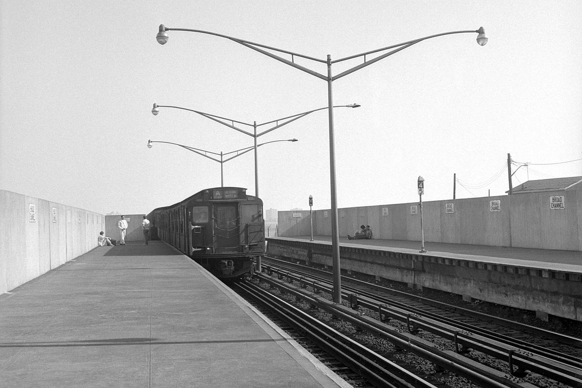 (366k, 1200x800)<br><b>Country:</b> United States<br><b>City:</b> New York<br><b>System:</b> New York City Transit<br><b>Line:</b> IND Rockaway Line<br><b>Location:</b> Broad Channel<br><b>Route:</b> A<br><b>Car:</b> R-1/R-9 Series  <br><b>Collection of:</b> David Pirmann<br><b>Date:</b> 8/23/1969<br><b>Viewed (this week/total):</b> 4 / 244