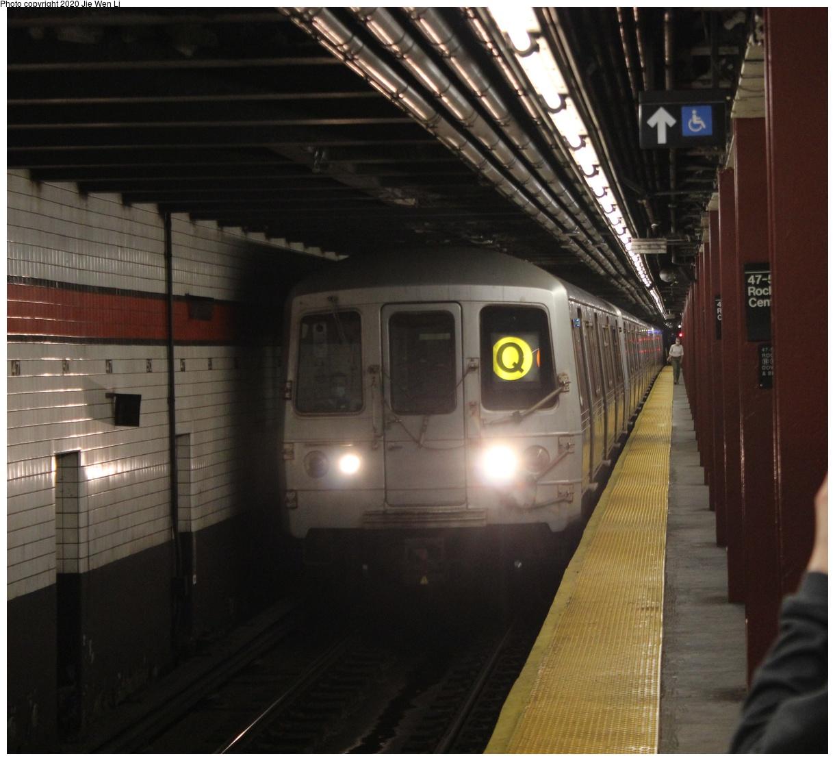 (408k, 1220x1111)<br><b>Country:</b> United States<br><b>City:</b> New York<br><b>System:</b> New York City Transit<br><b>Line:</b> IND 6th Avenue Line<br><b>Location:</b> 47-50th Street/Rockefeller Center<br><b>Route:</b> Q<br><b>Car:</b> R-46 (Pullman-Standard, 1974-75) 5826 <br><b>Photo by:</b> Jie Wen Li<br><b>Date:</b> 7/18/2020<br><b>Notes:</b> Q reroute via 6th Ave.<br><b>Viewed (this week/total):</b> 0 / 194