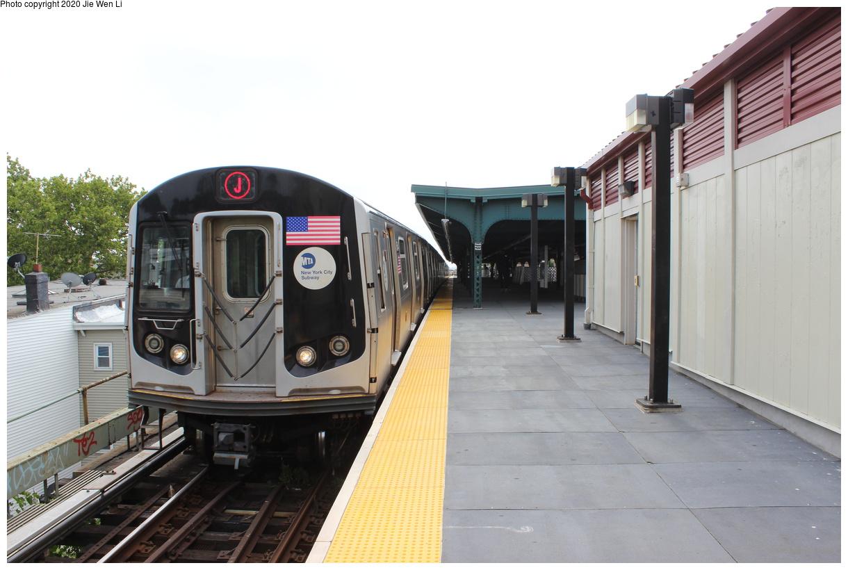 (335k, 1220x820)<br><b>Country:</b> United States<br><b>City:</b> New York<br><b>System:</b> New York City Transit<br><b>Line:</b> BMT Myrtle Avenue Line<br><b>Location:</b> Fresh Pond Road<br><b>Route:</b> J<br><b>Car:</b> R-160A-1 (Alstom, 2005-2008, 4 car sets) 8544 <br><b>Photo by:</b> Jie Wen Li<br><b>Date:</b> 7/22/2018<br><b>Notes:</b> J to Metropolitan Ave. G.O.<br><b>Viewed (this week/total):</b> 2 / 124