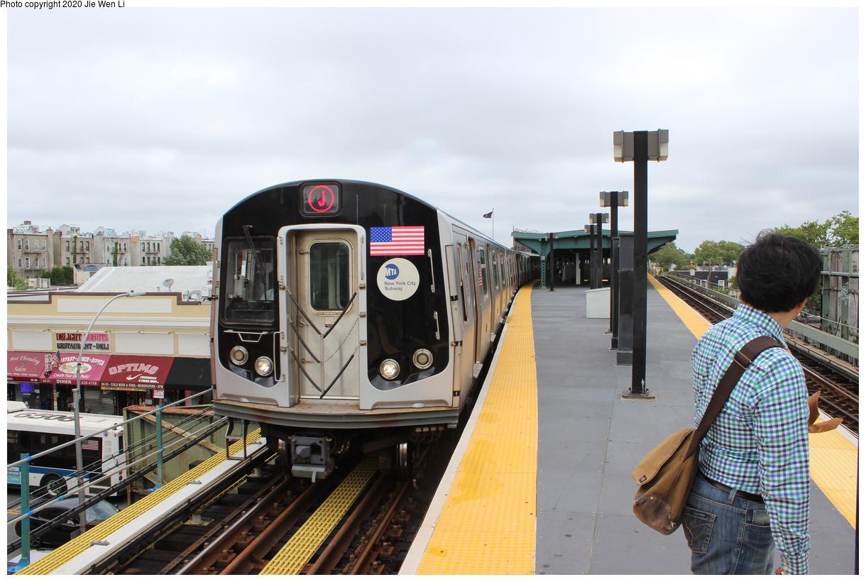 (390k, 1220x820)<br><b>Country:</b> United States<br><b>City:</b> New York<br><b>System:</b> New York City Transit<br><b>Line:</b> BMT Myrtle Avenue Line<br><b>Location:</b> Fresh Pond Road<br><b>Route:</b> J<br><b>Car:</b> R-160A-1 (Alstom, 2005-2008, 4 car sets) 8428 <br><b>Photo by:</b> Jie Wen Li<br><b>Date:</b> 7/22/2018<br><b>Notes:</b> J to Metropolitan Ave. G.O.<br><b>Viewed (this week/total):</b> 5 / 171