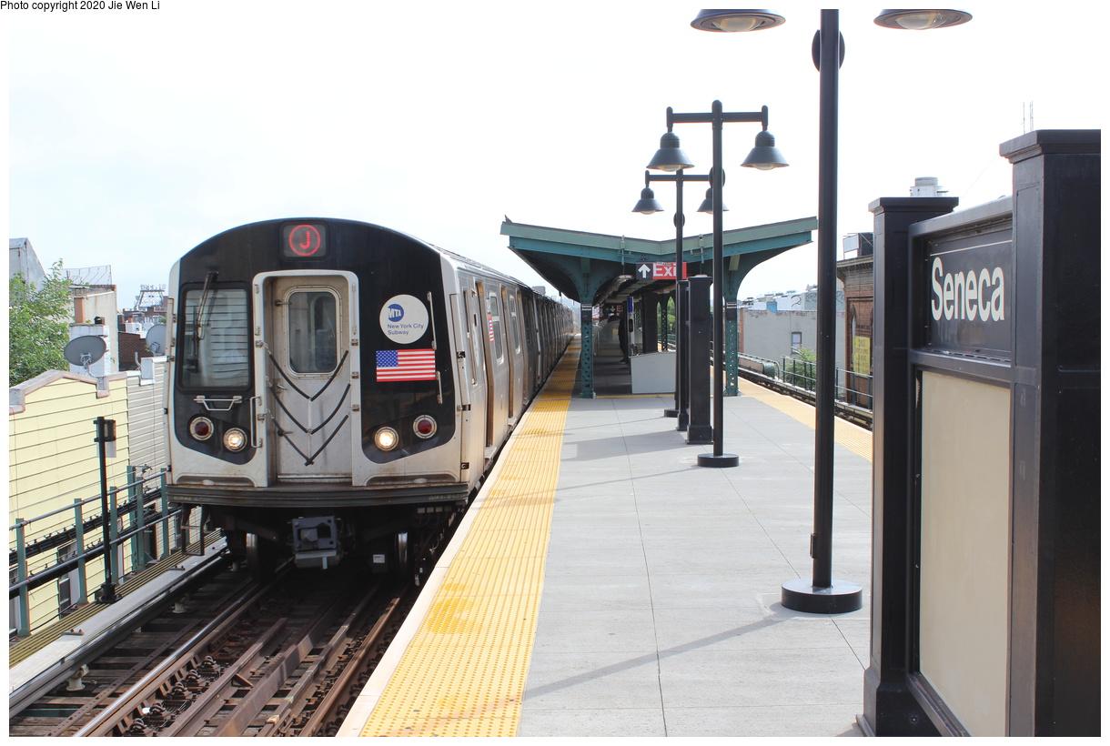 (361k, 1220x820)<br><b>Country:</b> United States<br><b>City:</b> New York<br><b>System:</b> New York City Transit<br><b>Line:</b> BMT Myrtle Avenue Line<br><b>Location:</b> Seneca Avenue<br><b>Route:</b> J<br><b>Car:</b> R-143 (Kawasaki, 2001-2002) 8249 <br><b>Photo by:</b> Jie Wen Li<br><b>Date:</b> 7/22/2018<br><b>Notes:</b> J to Metropolitan Ave. G.O.<br><b>Viewed (this week/total):</b> 4 / 177