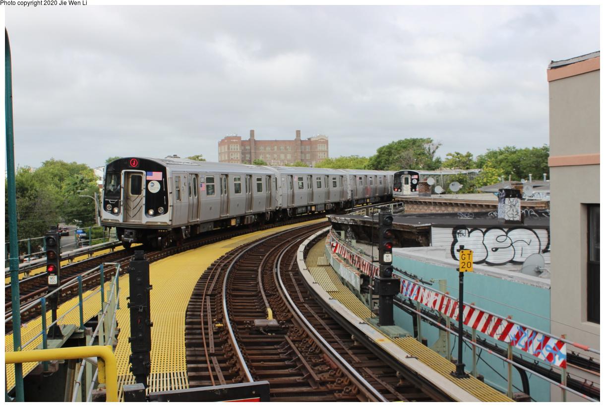 (389k, 1220x820)<br><b>Country:</b> United States<br><b>City:</b> New York<br><b>System:</b> New York City Transit<br><b>Line:</b> BMT Myrtle Avenue Line<br><b>Location:</b> Seneca Avenue<br><b>Route:</b> J<br><b>Car:</b> R-160A-1 (Alstom, 2005-2008, 4 car sets) 8385 <br><b>Photo by:</b> Jie Wen Li<br><b>Date:</b> 7/22/2018<br><b>Notes:</b> J to Metropolitan Ave. G.O.<br><b>Viewed (this week/total):</b> 2 / 120
